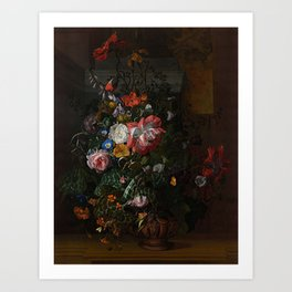 Rachel Ruysch - Roses, Convolvulus, Poppies and Other Flowers in an Urn on a Stone Ledge Art Print