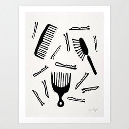 Good Hair Day – Black Palette Art Print