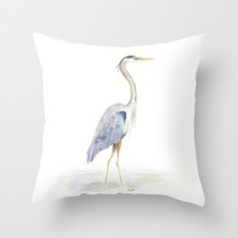 Heron Facing Right Throw Pillow