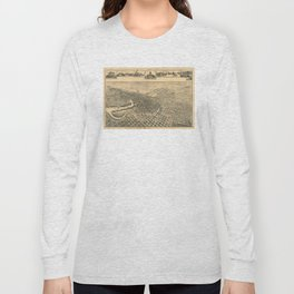 Vintage Pictorial Map of Stockton California (1895) Long Sleeve T-shirt