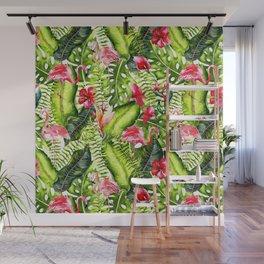 Aloha - Tropical Flamingo Bird and Hibiscus Palm Leaves Garden Wall Mural