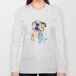 Pit Bull, Pitbull Watercolor Painting - The Softer Side Long Sleeve T-shirt