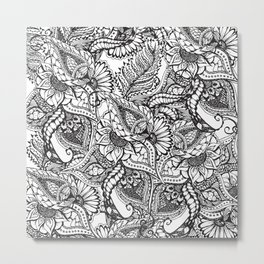 Modern black and white hand drawn floral pattern Metal Print