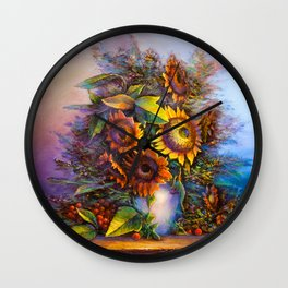 Oil painting a bouquet of flowers . Impressionist style 3 Wall Clock