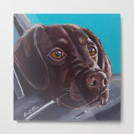 Chocolate Lab Painting, Colorful Pet Painting Metal Print