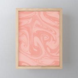 Pantone Living Coral Abstract Fluid Art Swirl Pattern Framed Mini Art Print