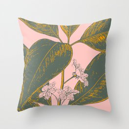 Modern Botanical Banana Leaf Throw Pillow