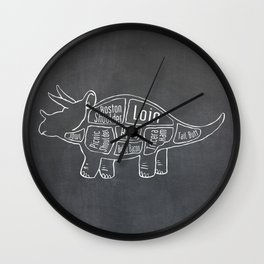 Triceratops Dinosaur (A.K.A Three Horn Face) Butcher Meat Diagram Wall Clock