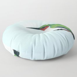 the studious male (ruby-throated hummingbird) Floor Pillow