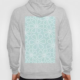 Abstract Flower Outlines White on Duck Egg Blue Hoody