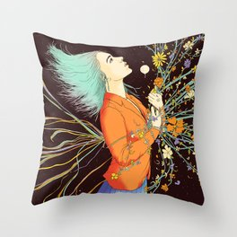Stabbed in the Back and Still Blooming Throw Pillow
