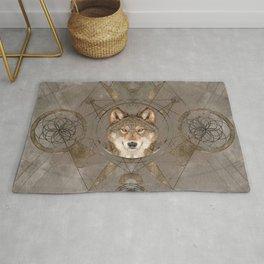 Wolf Sacred Geometry Digital Art Rug