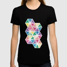 Geometric Honeycomb Bright Rainbow Pattern T-shirt