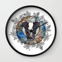 badger Wall Clocks featuring Badger by amyrose
