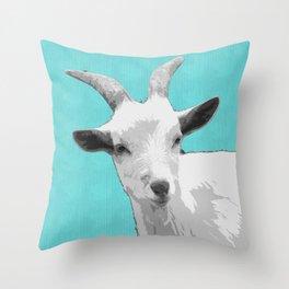 Goat Cyan Throw Pillow