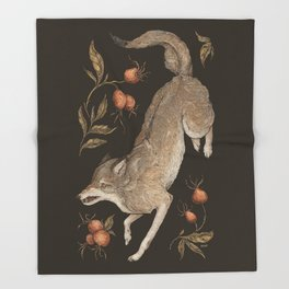 The Wolf and Rose Hips Throw Blanket