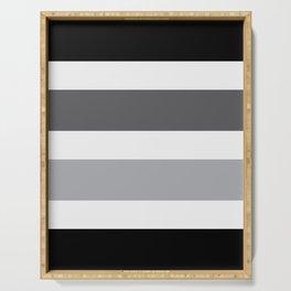 Black Grey Stripes Design Serving Tray