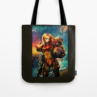 samus Tote Bags featuring Samus  by ururuty