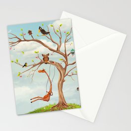 Tree with animals.Bunch of cute little creatures gathered on the branches of tree Stationery Cards