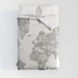 Grayscale watercolor world map with cities Comforters