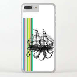 Kraken Attacking ship on Colorful Stripes Clear iPhone Case