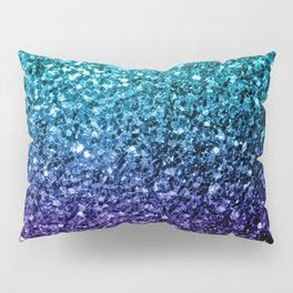 Beautiful Aqua blue Ombre glitter sparkles Pillow Sham