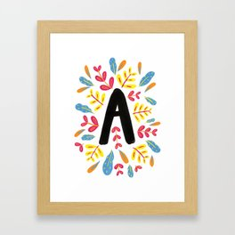 Letter 'A' Initial/Monogram With Bright Leafy Border Framed Art Print