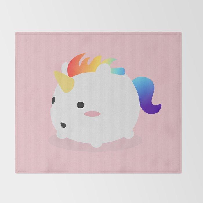 Kawaii Rainbow Fattycorn Throw Blanket By Eugeniaart Society40 Stunning Kawaii Throw Blanket
