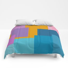 Happy Color Block Geometrics in Yellow, Blue, Purple, and Pink Comforters