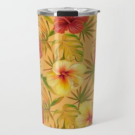 Leave And Flowers Pattern Travel Mug