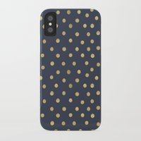 gold dots iPhone & iPod Cases featuring Gold Dots on Blue by Tamsin Lucie
