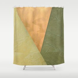 Golden Triangle With Green and Cream - Corbin Henry Color Field Shower Curtain