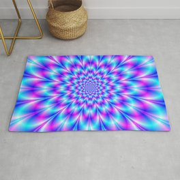 Neon Rosette in Blue and Pink Rug