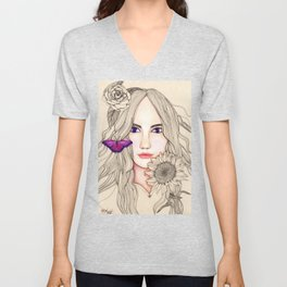 Woman with Gerbera and Sunflower Unisex V-Neck