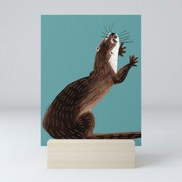 Asian small-clawed otter Cadet blue Mini Art Print