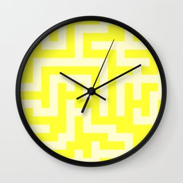 Cream Yellow and Electric Yellow Labyrinth Wall Clock