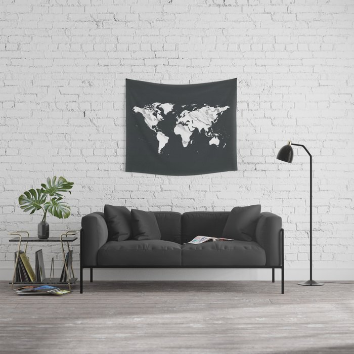 Marble World Map in Black and White Wall Tapestry