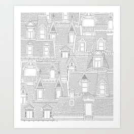 Montreal roofs black on white Art Print