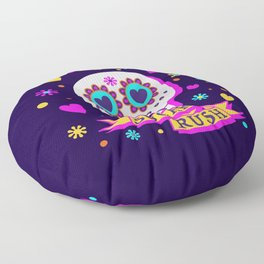 Sugar Rush Skull - Multi Colors - Bright - Halloween Floor Pillow
