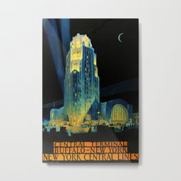 Central Terminal Buffalo New York Travel Poster Metal Print