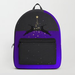 Champagne Gold Star Christmas Tree with Magical Reindeers - Glamorous Purple Backpack