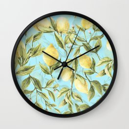 mediterranean summer lemon branches on turquoise Wall Clock