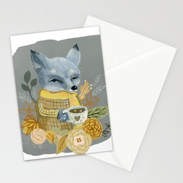 Gray Fox With Mug Stationery Cards