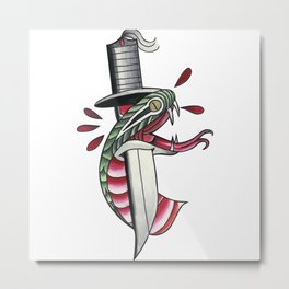Traditional Tattoo Style Dagger And Snake Metal Print