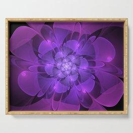 Purple Dew Drops   Abstract digital flower Serving Tray