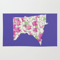 minnesota Area & Throw Rugs featuring Minnesota in Flowers by Ursula Rodgers