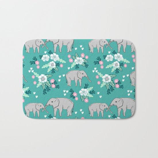 Elephants cute pattern florals good luck flowers and baby animals Bath Mat