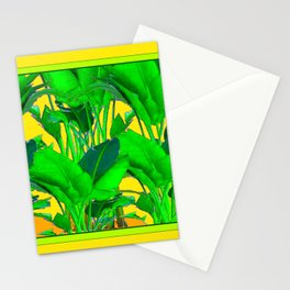 YELLOW GREEN & GOLD TROPICAL  GREEN FOLIAGE ART Stationery Cards