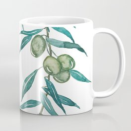 green olive leaf watercolor Coffee Mug
