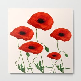 GRAPHIC RED POPPY FLOWERS ON WHITE Metal Print